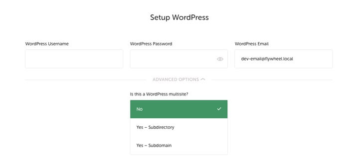 WordPress Local - Setup WordPress access details