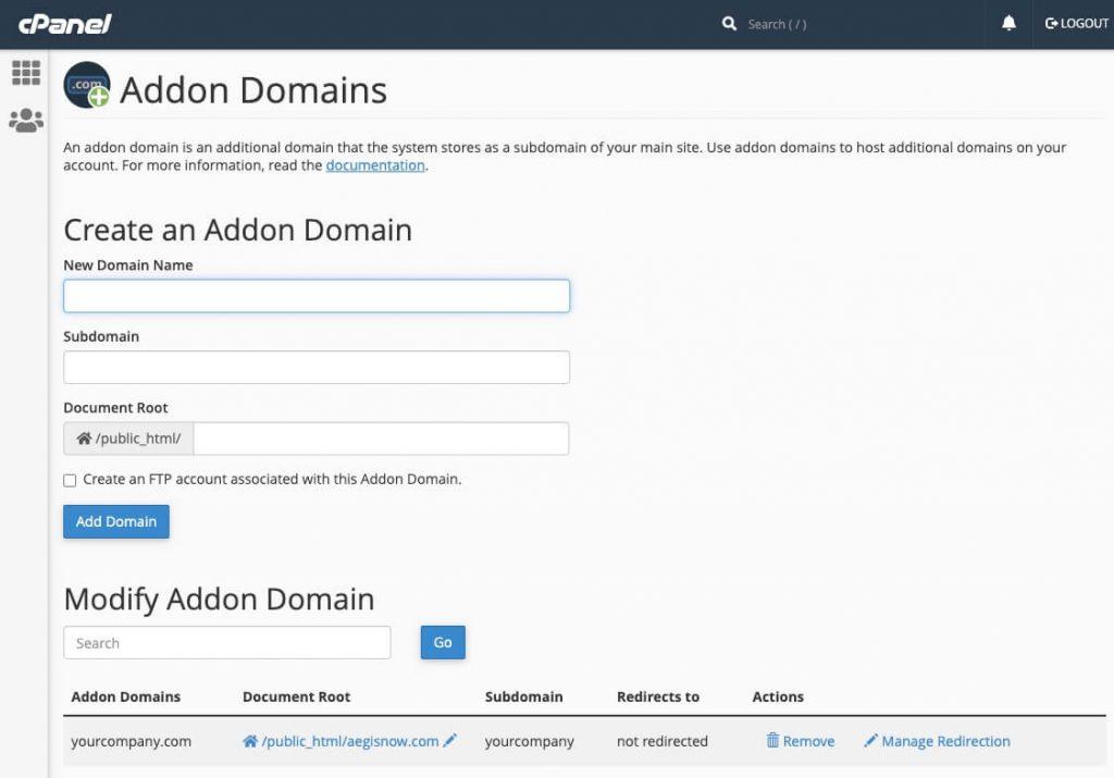 Setup an addon domain in cPanel